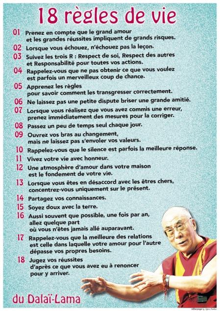 Aujourd'hui / les 18 règles de vie du Dalaï Lama
